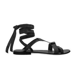 Free People - Black Wrap Flat Sandal - Worn Once!